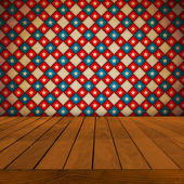 Old Table Surface With Retro Wallpaper — Stockfoto