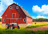 American Farmland With Blue Cloudy Sky — Stock Photo
