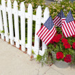House Garden With American Flags — Stock Photo