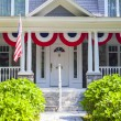 American Home with us flag for 4 of july — Stock Photo