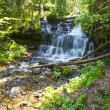Waterfall in green forest, Michigan USA — Stock Photo