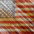 Old Painted American Flag on Dark Wooden Fence — Stock Photo #29186641