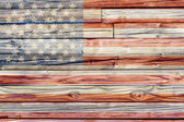 Old Painted American Flag on Dark Wooden Fence — Stock Photo