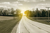 Country Road With Sunset — Stock Photo