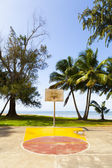 Basketball Field in tropical beach — Stock Photo