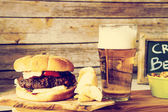Craft Beer With Hamburger — Stock Photo
