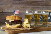 Craft Beer and Hamburger — Stock Photo