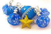 Christmas composition with balls and star, isolated on white — Stock Photo