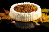 Autumm composition with chesnut cake, nuts and chesnuts, isolate — Stock Photo