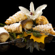 Puff canes with cream, decorated with flowers, isolated on black — Stock Photo