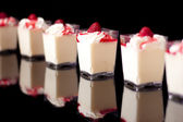 Panacotta, italian dessert made with cream, isolated on black — Stock Photo