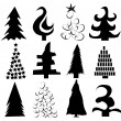 Stock Vector: Set of Christmas trees vector