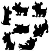 Set of dogs silhouette — Stock Vector