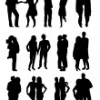 Romantic couples silhouettes — Stock vektor