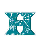 Vector snow font letter H — Stock Vector