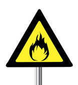 Yellow triangle flammable warning sign — Stock Vector
