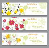 Invitation avec floral abstrait — Vecteur