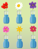 Flowers in vase set — Vector de stock