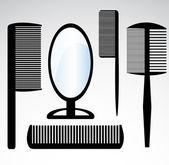 Colección belleza de salón o peluquero peinetón — Vector de stock