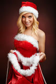 Beautiful sexy girl opens Santa Claus gift sack — Stock Photo