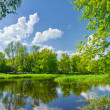 spring landscape with narew river and clouds on the blue sky — Stock Photo