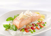 Salmon in cream — Stock Photo