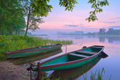 Two boats on the river. Foggy landscape. — Stock fotografie