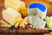 Verschillende soorten kaas op snijplank — Stockfoto