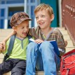 Our first day in school. Two happy kids. — Stock Photo