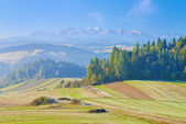 View from Spisz to The Tatra Mountains. Morning landscape. Poland — Stock Photo