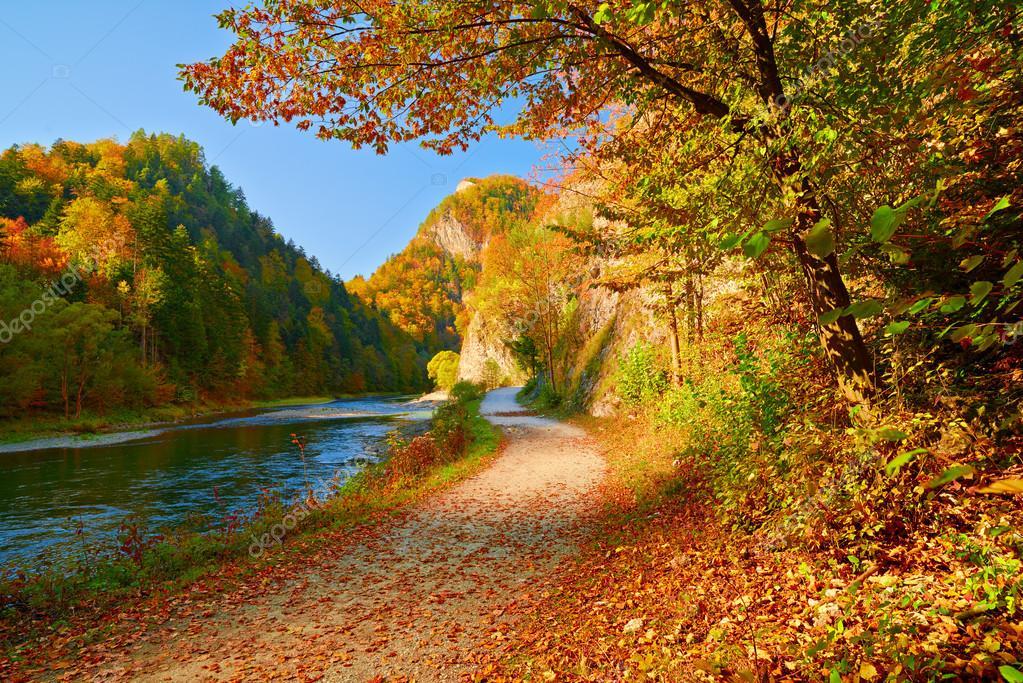 Фотообои Осенний пейзаж с рекой Дунаец. Горы Пенины