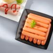 Stock Photo: Many wiener sausages on plate.