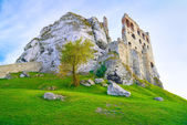 The Ruins of Old Medieval Castle on Rocks. Surrealistic landscape — Stock Photo