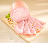Mortadella - Bologna Sausage. Italian pork meat. — Stock Photo