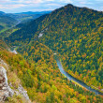 River view from Sokolica Mountain. Pieniny National Park. Carpathians landscape — Stock Photo #48848759