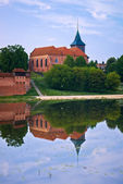 Scenery of Saint John the Baptist Church in Malbork, Poland. — Stock Photo