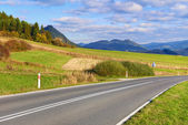 Highway by The Pieniny Mountains landscape, Carpathians. — Stock Photo