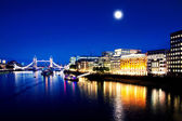 London Bridge and River Thames by night — Stock Photo
