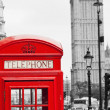 Red Telephone Booth and Big Ben in London — Stock Photo