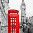 Red Telephone Booth and Big Ben in London — Stock Photo #35983621
