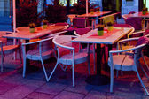 Cafe with table and chairs — Stockfoto