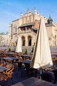 Cidade mercado café em cracóvia — Fotografia Stock