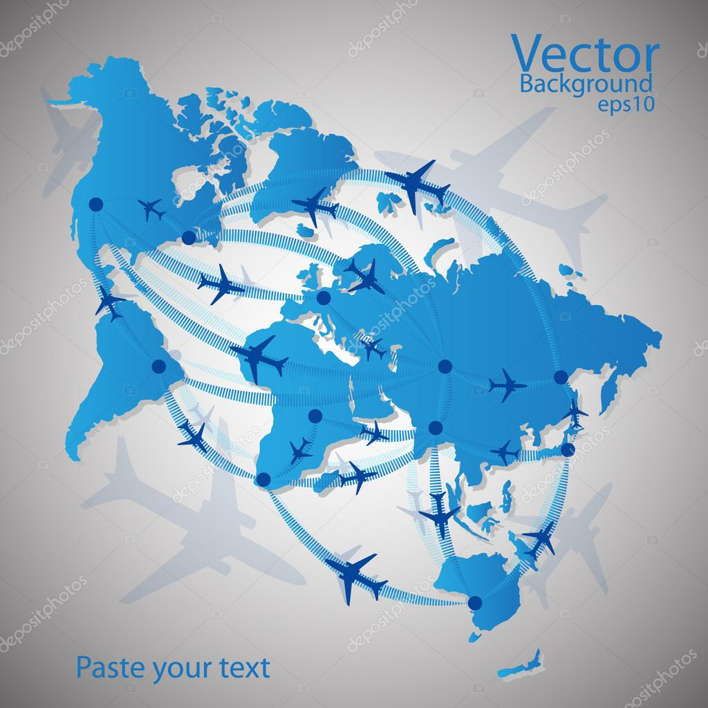 Vector illustration night travel world map — Stock Vector #13900900