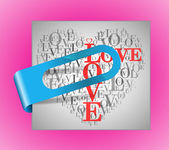 "A heart made of words ""LOVE"" with sticker — Stock Vector"