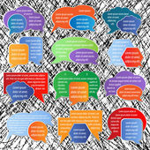 Set of colorful labels, speech bubbles on texture — Stock Vector