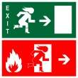 Stock Vector: Green emergency exit sign, icon and symbol - fire