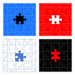 Puzzle pieces vector design set — Stockvectorbeeld