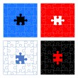 Puzzle pieces vector design set — Imagen vectorial