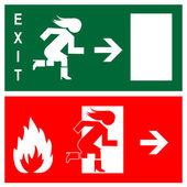 緑の非常口サイン、アイコンとシンボル - 火災します。 — ストックベクタ