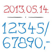 Numbers set - design painted vector from 0 to 9 — Stock Vector